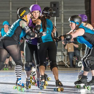 Morticia Militia and Beethovens Fist working with Pnut to shut out the Carnie Jammer.